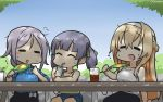 3girls =_= alternate_costume bag bangs blonde_hair blue_sky blue_sweater braid casual closed_eyes commentary_request cowboy_shot cup dappled_sunlight dated day denim denim_shorts disposable_cup drinking_straw fan french_braid gradient_sky green_ribbon grey_hair hair_ribbon hair_tie hamu_koutarou highres kantai_collection long_hair multiple_girls ooshio_(kantai_collection) outdoors parted_bangs ribbon shirt shopping_bag short_twintails shorts silver_hair single_braid sitting sky sleeveless sleeveless_shirt sunlight sweater tumbler twintails umikaze_(kantai_collection) very_long_hair warspite_(kantai_collection) white_hair