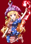 1girl american_flag_dress american_flag_legwear arm_up blonde_hair blue_legwear clownpiece eyebrows_visible_through_hair full_body hat highres jester_cap long_hair looking_at_viewer neck_ruff polka_dot polka_dot_hat purple_headwear red_background ruu_(tksymkw) short_sleeves simple_background solo star star_print striped striped_legwear touhou violet_eyes