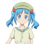1girl alternate_costume bangs blue_eyes blue_hair blush cabbie_hat cato_(monocatienus) commentary eyebrows_visible_through_hair green_headwear green_shirt hair_bobbles hair_ornament hat jewelry kawashiro_nitori key looking_at_viewer pendant shirt short_hair short_sleeves sidelocks simple_background smile solo touhou twintails upper_body white_background