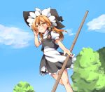 1girl apron bamboo_broom black_skirt black_vest blonde_hair blue_sky blush braid bright_pupils broom clouds cycloneyukari day dutch_angle feet_out_of_frame fingernails from_below hand_in_hair hat high_collar holding holding_broom kirisame_marisa long_hair looking_away orange_eyes outdoors petticoat puffy_short_sleeves puffy_sleeves shirt short_sleeves single_braid skirt sky smile solo standing standing_on_one_leg touhou tree vest waist_apron white_shirt wind witch_hat