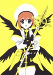 1girl aru_(photozou) brown_hair fingerless_gloves flat_color gloves hair_ornament hat heterochromia kirigami long_sleeves looking_at_viewer lyrical_nanoha magical_girl open_mouth paper_cutout_(medium) papercraft short_hair smile solo solo_focus thighs traditional_media waist_cape white_headwear wings x_hair_ornament yagami_hayate