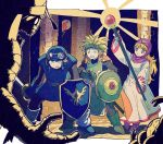 1girl 2boys blonde_hair breasts closed_mouth commentary_request crest curly_hair dragon_quest dragon_quest_ii dress goggles goggles_on_head goggles_on_headwear hat hood hood_up long_hair long_sleeves monster multiple_boys open_mouth prince_of_lorasia prince_of_samantoria princess princess_of_moonbrook purple_hair red_eyes robe shield smile spiky_hair staff sword weapon white_robe yuza