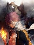 1boy bruise_on_face clenched_hand dragon fairy_tail fire glowing glowing_eyes hair_between_eyes highres igneel long_sleeves natsu_dragneel pink_hair scarf shirt solo spiky_hair torn_clothes torn_shirt twitter_username upper_body v-shaped_eyebrows white_scarf yae_chitokiya yellow_eyes