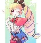 1girl alternate_costume alternate_hairstyle bag bird blonde_hair bow camilla_(fire_emblem_if) d0o00o0b elise_(fire_emblem_if) female_my_unit_(fire_emblem_if) fire_emblem fire_emblem_if hair_bow handbag leon_(fire_emblem_if) long_hair long_sleeves marks_(fire_emblem_if) multicolored_hair my_unit_(fire_emblem_if) nintendo one_eye_closed open_mouth petals ponytail purple_hair solo violet_eyes