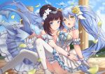 2girls :o absurdres ahoge arm_garter ass bangs bare_shoulders blue_dress blue_eyes blue_hair blue_ribbon blue_sky blush breast_press breasts brown_hair choker cleavage closed_mouth clouds collarbone day detached_sleeves dress elf floating_hair flower frilled_choker frills gloves hair_between_eyes hair_bun hair_flower hair_ornament heart_ahoge highres hug huge_filesize king's_raid knees_up large_breasts layered_dress long_hair long_sleeves looking_at_viewer mirianne_(king's_raid) multiple_girls open_mouth outdoors petals pnt_(ddnu4555) pointy_ears ribbon rose sidelocks sitting sky smile sonia_(king's_raid) symmetrical_docking thigh-highs twintails very_long_hair white_dress white_flower white_gloves white_legwear yellow_eyes yellow_flower