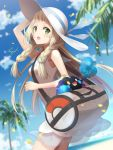 1girl arm_up bag bangs blonde_hair blue_sky braid breasts clouds cosmog creatures_(company) day dress duffel_bag game_freak gen_7_pokemon green_eyes hat highres light_particles lillie_(pokemon) long_hair nintendo outdoors palm_tree petals pokemon pokemon_(creature) pokemon_(game) pokemon_sm rupinesu see-through sky sleeveless sleeveless_dress small_breasts solo straight_hair sun_hat tree twin_braids white_dress white_headwear