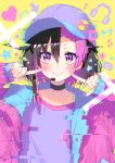 1girl bangs baseball_cap black_choker black_hair blush c: choker commentary_request earrings glitch hair_between_eyes hands_up hat heart highres jacket jewelry lapel long_sleeves looking_at_viewer multicolored_hair musical_note open_clothes open_jacket original pill purple_hair purple_headwear purple_jacket purple_shirt shirt short_hair smile solo star two-tone_hair upper_body v-shaped_eyebrows violet_eyes yaki_mayu