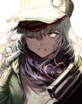 1girl assault_rifle bangs brown_eyes bruise clenched_teeth damaged dirty g11_(girls_frontline) girls_frontline gun h&k_g11 hair_between_eyes hat heckler_&_koch holding holding_gun holding_weapon injury long_hair looking_at_viewer one_eye_closed open_clothes rifle scarf_on_head shirt silence_girl silver_hair solo teeth torn_clothes upper_body very_long_hair weapon