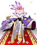 1girl blaze_the_cat closed_mouth commentary confetti crossed_legs eyelashes forehead_jewel full_body furry gem gold_trim high-waist_pants highres large_hands lavender_fur legs_crossed long_sleeves looking_at_viewer outstretched_arm pants slit_pupils sol_(tteum93) solo sonic_the_hedgehog symbol_commentary tail thigh_gap watson_cross white_footwear white_pants yellow_eyes