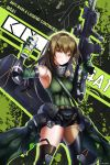 1girl absurdres arm_guards armband armpits artist_name assault_rifle asymmetrical_legwear bangs belt black_legwear black_shorts breasts brown_eyes brown_hair can character_name elbow_gloves eyebrows_visible_through_hair gas_mask girls_frontline gloves green_hair green_sweater gun hair_between_eyes highres holding holding_can holding_gun holding_weapon huge_filesize knee_pads long_hair looking_at_viewer m4_carbine m4a1_(girls_frontline) magazine_(weapon) mod3_(girls_frontline) multicolored_hair muzent pouch ribbed_legwear rifle short_shorts shorts sidelocks skull_print smile snap-fit_buckle solo streaked_hair sweater sweater_vest thigh-highs trigger_discipline weapon