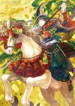 1girl animal armor black_hair commentary gloves hakama hat holding holding_naginata holding_weapon horse horseback_riding hototogisu_tairan japanese_armor japanese_clothes kimono kote kusazuri long_hair naginata noki_(affabile) pine_tree polearm print_hakama riding serious solo tabi tassel tate_eboshi tomoe_gozen tree violet_eyes weapon white_gloves wide_sleeves