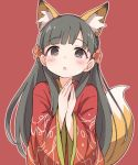 1girl :o animal_ear_fluff animal_ears bangs black_hair blush braid brown_eyes brown_footwear brown_outline character_request ddak5843 eyebrows_visible_through_hair flower fox_ears fox_girl fox_tail hair_flower hair_ornament hands_together hands_up idolmaster japanese_clothes kemonomimi_mode kimono long_hair long_sleeves outline own_hands_together parted_lips red_background red_kimono solo tail tail_raised upper_body very_long_hair wide_sleeves