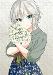 1girl anastasia_(idolmaster) blue_eyes blue_skirt bouquet collared_shirt eyebrows_visible_through_hair floral_print flower ginnote grey_shirt hair_between_eyes holding holding_bouquet idolmaster idolmaster_cinderella_girls looking_at_viewer print_skirt shiny shiny_hair shirt short_hair silver_hair skirt sleeves_rolled_up smile solo standing white_flower