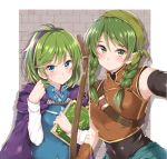 2girls bandanna bangs blue_eyes book bow_(weapon) braid breasts cape closed_mouth eyebrows_visible_through_hair fire_emblem fire_emblem:_rekka_no_ken green_eyes green_hair hairband holding holding_book jiino long_hair long_sleeves multiple_girls nino_(fire_emblem) nintendo rebecca_(fire_emblem) short_hair sleeveless smile twin_braids upper_body weapon