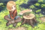1girl axe black_legwear blonde_hair boots brown_eyes brown_footwear child closed_mouth collared_shirt day fate/grand_order fate_(series) flannel grass legs_crossed long_sleeves looking_away looking_to_the_side monosenbei outdoors overall_shorts pantyhose paul_bunyan_(fate/grand_order) shirt short_hair sitting solo tree_stump