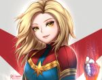 1girl blonde_hair blue_eyes bodysuit breasts captain_marvel clenched_hand commentary english_commentary gloves lips looking_at_viewer marvel medium_breasts red_gloves reizdrawing skin_tight smile solo superhero