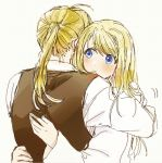 1boy 1girl ahoge blonde_hair blue_eyes blush commentary_request couple dress_shirt edward_elric expressionless eyebrows_visible_through_hair facing_away fingernails fullmetal_alchemist grey_background hands_on_another's_back hetero hug long_hair long_sleeves looking_at_another ponytail shirt simple_background tsukuda0310 waistcoat white_shirt winry_rockbell