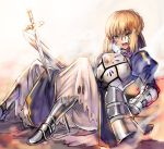 1girl armor armored_dress artoria_pendragon_(all) blonde_hair blood blood_on_face blue_ribbon braided_bun fate/stay_night fate_(series) faulds gauntlets green_eyes hair_between_eyes hair_ribbon holding holding_sword holding_weapon lowres open_mouth ribbon saber shida_(xwheel) short_hair simple_background skirt solo sword weapon white_background white_skirt