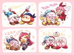 2boys 2girls bandana_waddle_dee bandanna blue_bandana blue_eyes blush blush_stickers bow bowtie brown_eyes cake claws closed_eyes commentary drooling fairy fairy_wings fang food hair_ribbon hallons_kabo hand_on_own_face hat heart holding holding_spear holding_weapon jester_cap kirby kirby_(series) laughing long_hair marx multiple_boys multiple_girls multiple_views nintendo no_arms no_mouth open_mouth pink_hair polearm red_bow red_neckwear red_ribbon ribbon ribbon_(kirby) romaji_text short_hair smile spear speech_bubble susie_(kirby) very_long_hair violet_eyes weapon wings yellow_wings