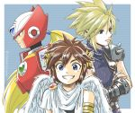 3boys android blonde_hair blue_eyes brown_hair cloud_strife earrings final_fantasy final_fantasy_vii gloves green_eyes helmet jewelry kid_icarus kid_icarus_uprising long_hair male_focus multiple_boys nintendo pit_(kid_icarus) robot rockman rockman_x sayoyonsayoyo short_hair smile spiky_hair sword weapon zero_(rockman)