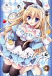 1girl :d alice_(wonderland) alice_in_wonderland animal_ears argyle argyle_background artist_name bangs black_legwear blonde_hair blue_bow blue_dress blue_eyes blush boots bow breasts brown_footwear card cleavage club_(shape) commentary_request diamond_(shape) doughnut dress eyebrows_visible_through_hair food frilled_dress frills fruit hair_between_eyes hair_bow heart highres juliet_sleeves kirishima_riona knee_boots long_hair long_sleeves medium_breasts open_mouth pinching_sleeves pink_bow playing_card pleated_dress pocket_watch puffy_sleeves rabbit_ears roman_numerals skirt_hold sleeves_past_wrists smile solo strawberry thigh-highs thighhighs_under_boots two_side_up underbust very_long_hair watch