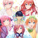 1boy 5girls blue_eyes blush bow brown_hair closed_mouth collared_shirt eyebrows go-toubun_no_hanayome green_bow hair_ornament headphones headphones_around_neck highres mery_(apfl0515) multiple_girls nakano_ichika nakano_itsuki nakano_miku nakano_nino nakano_yotsuba open_mouth orange_hair pink_hair redhead shirt short_hair short_sleeves smile star star_hair_ornament thinking tongue tongue_out uesugi_fuutarou white_shirt