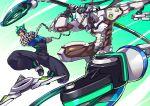 2boys arms_(game) chains commentary_request crossover cyborg genji_(overwatch) glasses highres jumping katana male_focus multiple_boys ninja ninjara_(arms) overwatch ryuusei_(mark_ii) shoes silver-framed_eyewear sneakers speed_lines sword visor weapon