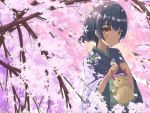 1girl blue_hair blush cherry_blossoms doll flower hair_flower hair_ornament hands_up holding idolmaster idolmaster_shiny_colors japanese_clothes kimono looking_at_viewer looking_to_the_side morino_rinze obi petals red_eyes sash short_hair solo sorano_eika spring_(season) straw_doll tree
