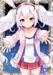 1girl animal_ears azur_lane bangs blush breasts camisole collarbone commentary_request cowboy_shot eyebrows_visible_through_hair fur-trimmed_jacket fur_trim hair_between_eyes hair_ornament hairband jacket laffey_(azur_lane) long_hair long_sleeves looking_at_viewer misaki_(misaki86) open_clothes open_jacket outstretched_arms parted_lips pink_jacket pleated_skirt rabbit_ears red_eyes red_hairband red_skirt sidelocks silver_hair skirt sleeves_past_wrists small_breasts solo thigh-highs twintails very_long_hair water_drop white_camisole white_legwear
