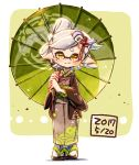 +_+ 1girl brown_eyes commentary dated domino_mask earrings food food_on_head green_umbrella grey_hair grey_kimono hair_ornament haori harutarou_(orion_3boshi) highres holding holding_umbrella hotaru_(splatoon) japanese_clothes jewelry kimono light_blush light_smile long_sleeves looking_at_viewer mask mole mole_under_eye obi object_on_head oriental_umbrella pointy_ears print_kimono sandals sash short_hair solo splatoon splatoon_(series) splatoon_2 standing sushi tabi tentacle_hair umbrella white_legwear wide_sleeves