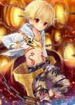 1boy blonde_hair blush chains child_gilgamesh fate/grand_order fate_(series) gate_of_babylon hood hoodie jewelry looking_at_viewer magonuri male_focus navel necklace red_eyes shorts smile solo sword weapon