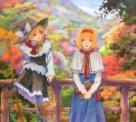 2girls alice_margatroid black_headwear blonde_hair blue_eyes blush book bow braid broom brown_eyes day green_bow hair_bow hat hat_ribbon holding holding_book kirisame_marisa long_hair long_sleeves looking_at_another marker_(medium) multiple_girls open_mouth outdoors railing ribbon scenery shiratama_(hockey) short_hair sitting smile standing touhou traditional_media white_bow white_ribbon witch_hat