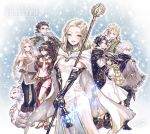 4boys 4girls :d ^_^ alfyn_(octopath_traveler) arm_at_side arm_up backpack bag bangs bare_shoulders belt black_gloves black_hair black_headwear black_pants black_scarf blonde_hair blue_background blue_fire blush book boots bracer braid breasts brown_eyes brown_gloves brown_hair cape capelet cleavage closed_eyes closed_eyes closed_mouth commentary_request copyright_name cropped_vest cyrus_(octopath_traveler) dancer dress earrings elbow_gloves expressionless fingerless_gloves fire forehead frilled_sleeves frills fringe_trim fur-trimmed_gloves fur_boots fur_capelet fur_trim gauntlets gloves green_eyes grey_cape h'aanit_(octopath_traveler) hair_between_eyes hand_on_hip hand_on_own_head hat_feather high_heels highres holding holding_book holding_staff jewelry knee_boots lantern long_hair looking_at_viewer looking_back low_ponytail medium_breasts medium_hair multiple_boys multiple_girls navel necklace octopath_traveler off_shoulder olberic_eisenberg open_book open_mouth ophilia_(octopath_traveler) pants parted_bangs pauldrons pelvic_curtain ponytail primrose_azelhart puffy_short_sleeves puffy_sleeves revealing_clothes sandals scarf short_sleeves shoulder_armor single_braid small_breasts smile snow_leopard snowing staff stomach takatora therion_(octopath_traveler) thighlet tressa_(octopath_traveler) white_dress white_hair