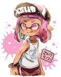 1girl baseball_cap basketball_jersey black_headwear bracelet closed_mouth clothes_writing commentary dark_skin dated domino_mask harutarou_(orion_3boshi) hat highres inkling inkling_(language) jewelry light_blush mask medium_hair paint_splatter pink_eyes pink_hair pointy_ears print_shirt shirt single_vertical_stripe sketch smile solo splatoon splatoon_(series) splatoon_2 standing tank_top tentacle_hair white_background white_shirt