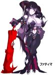 1girl bangs black_dress black_gloves black_hair black_legwear blood bloody_weapon bracelet breasts closed_mouth collar collarbone dress elbow_gloves eyebrows_visible_through_hair fur_trim gloves high_heels highres holding holding_weapon horns jewelry large_breasts long_hair navel original pointy_ears potion_(moudamepo) puddle purple_skin simple_background solo standing thick_thighs thigh-highs thighs violet_eyes weapon white_background