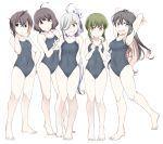 5girls ahoge asashimo_(kantai_collection) bangs barefoot black_hair black_swimsuit blunt_bangs bob_cut braid breasts brown_eyes brown_hair commentary_request competition_school_swimsuit covered_navel fang flat_chest full_body green_eyes green_hair grey_eyes grin hair_over_one_eye kantai_collection kishinami_(kantai_collection) long_hair looking_to_the_side medium_breasts multicolored_hair multiple_girls naganami_(kantai_collection) no_eyewear okinami_(kantai_collection) open_mouth pink_hair ponytail school_swimsuit short_hair sidelocks silver_hair skin_fang smile souji standing swimsuit takanami_(kantai_collection) two-tone_hair wavy_hair