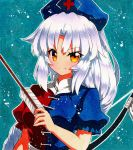 1girl arrow blush bow_(weapon) braid breasts brown_eyes closed_mouth eyebrows_visible_through_hair grey_hair hat holding holding_arrow long_hair looking_at_viewer medium_breasts nurse_cap puffy_short_sleeves puffy_sleeves qqqrinkappp shikishi short_sleeves smile solo touhou traditional_media upper_body weapon yagokoro_eirin