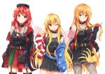 3girls ;p absurdres adapted_costume akiteru98 american_flag_jacket american_flag_legwear bag bangs bare_shoulders belt black_belt black_choker black_dress black_jacket black_legwear blonde_hair blue_belt blue_jacket blue_legwear blue_skirt blush breasts camisole choker cleavage clothes_writing clownpiece collarbone commentary_request cosplay cowboy_shot dress earth_(ornament) eyebrows_visible_through_hair fairy_wings fishnet_pantyhose fishnets garter_straps green_skirt grin hair_between_eyes hand_up hecatia_lapislazuli hecatia_lapislazuli_(cosplay) highres holding holding_hair hood hooded_jacket jacket jewelry junko_(touhou) long_hair long_sleeves looking_at_viewer medium_breasts mismatched_legwear moon_(ornament) multicolored multicolored_clothes multicolored_skirt multiple_girls necklace no_hat no_headwear off_shoulder one_eye_closed open_clothes open_jacket pantyhose parted_lips plaid plaid_skirt pleated_dress polos_crown red_belt red_eyes red_jacket red_legwear red_skirt redhead short_dress sidelocks simple_background skindentation skirt sleeveless sleeveless_dress small_breasts smile spaghetti_strap standing star star_print striped striped_jacket striped_legwear thigh-highs thighs tongue tongue_out touhou v very_long_hair white_background white_jacket white_legwear wings zettai_ryouiki