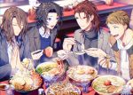 2018 4boys :d black_hair black_jacket black_sweater blue_eyes brown_hair character_request chopsticks chromatic_aberration collared_shirt copyright_request cup dress_shirt drinking_glass egg food green_eyes grey_jacket jacket lobster long_sleeves looking_at_another matsuki_tou meat multiple_boys noodles open_clothes open_jacket open_mouth parted_lips praying ramen red_eyes redhead shirt sitting smile spoon sweater table turtleneck turtleneck_sweater water white_shirt
