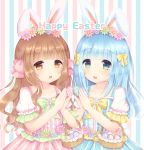 2girls :d animal_ears bangs basket blue_dress blue_flower blue_nails blunt_bangs blush bow brown_eyes brown_hair bunny_girl bunny_tail caramel_(caramelmilk) center_frills collarbone commentary dress easter easter_egg egg english_commentary eyebrows_visible_through_hair fingernails flower frills green_eyes green_flower hair_bow hair_flower hair_ornament hands_up happy_easter holding holding_egg multiple_girls nail_polish open_mouth original pink_bow pink_dress pink_flower pink_nails puffy_short_sleeves puffy_sleeves rabbit_ears short_sleeves smile striped striped_background tail vertical-striped_background vertical-striped_dress vertical_stripes white_flower yellow_bow