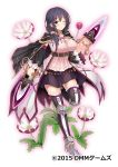 1girl belt black_hair breasts cape copyright_name dagger dmm flower_knight_girl full_body highres holding holding_weapon large_breasts looking_at_viewer night_phlox_(flower_knight_girl) official_art one_eye_closed skirt smile standing tagme violet_eyes weapon white_background