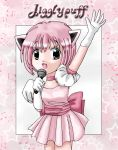1girl blue_eyes cat_ears creatures_(company) dress game_freak gijinka gloves humanization jigglypuff looking_at_viewer microphone moemon musical_note nintendo pearlypuff personification pink_background pink_dress pink_hair pokemon pokemon_rgby ribbon short_hair singing solo star starry_background