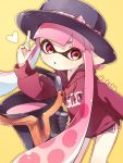1girl bangs black_headwear black_shorts blunt_bangs bow clothes_writing commentary domino_mask drawstring gym_shorts hat hat_bow heart holding holding_weapon hood hoodie inkling inkling_(language) leaning_forward long_hair long_sleeves looking_at_viewer mask parted_lips pink_eyes pink_hair pointing pointing_up pointy_ears purple_shirt sen_squid shirt short_shorts shorts slosher_(splatoon) splatoon splatoon_(series) splatoon_1 standing tentacle_hair twitter_username weapon yellow_background