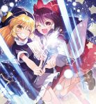 2girls :d ahoge between_fingers blonde_hair bow brown_footwear commentary_request danmaku detached_sleeves dress dutch_angle folded_leg frilled_skirt frills grin hair_bow hakurei_reimu hakurei_reimu_(pc-98) hand_holding hat head_tilt high_collar highres holding holding_wand interlocked_fingers katayama_kei kirisame_marisa kirisame_marisa_(pc-98) laser long_hair looking_at_viewer multiple_girls ofuda one_eye_closed open_mouth purple_dress purple_hair red_eyes red_skirt short_sleeves skirt smile standing standing_on_one_leg star starry_background teeth touhou touhou_(pc-98) very_long_hair wand witch_hat yellow_eyes