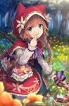 1girl animal_ears animal_hood basket blue_flower blurry blurry_foreground bottle brown_flower character_request cloak closed_mouth commentary_request day depth_of_field flower frilled_skirt frills grimms_echoes holding holding_flower holding_staff hood hood_up hooded_cloak kneeling long_sleeves outdoors pantyhose pink_flower purple_flower red_cloak red_skirt ribbon_trim roll_okashi shirt skirt sleeves_past_wrists smile solo staff standing tree watermark white_legwear white_shirt wine_bottle yellow_flower