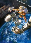 1girl animal astronaut bicycle brown_hair commentary earth english_commentary green_eyes ground_vehicle looking_away noki_(affabile) open_mouth original outdoors planet smile solo space space_station spacesuit star_(sky) zero_gravity