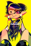 +_+ 1girl aori_(splatoon) artist_name black_footwear black_hair black_jacket character_name commentary cursive domino_mask earrings english_commentary english_text foreshortening grin highres hotaru_(splatoon) jacket jewelry long_hair looking_at_viewer mask mole mole_under_eye one_eye_closed pointy_ears seto_(asils) shoes signature sitting smile solo splatoon splatoon_(series) splatoon_1 tentacle_hair v_arms violet_eyes yellow_background