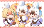 3girls animal_ears bangs black_eyes black_hair blonde_hair blush bow bowtie cake chef_hat chibi commentary_request extra_ears eyebrows_visible_through_hair food fur_collar hair_between_eyes hat highres kemono_friends multiple_girls one_eye_closed rakugakiraid silky_anteater_(kemono_friends) simple_background southern_tamandua_(kemono_friends) tail v-shaped_eyebrows white_background white_hair