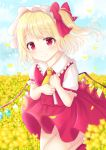 1girl arms_up asymmetrical_sleeves bangs blonde_hair blue_sky blush bobby_socks bow clouds cowboy_shot cravat crystal day eyebrows_visible_through_hair field flandre_scarlet flower flower_field folded_leg frilled_shirt_collar frills hair_bow hands_on_own_chest hat head_tilt looking_at_viewer mob_cap nibosisuzu outdoors petals red_eyes red_footwear red_skirt red_vest shirt short_hair short_sleeves side_ponytail skirt sky smile socks solo standing standing_on_one_leg swept_bangs touhou vest white_headwear white_legwear white_shirt wind wind_lift wings yellow_neckwear