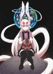 1girl :p ad-6-0001a alien animal_ears black_legwear black_neckwear bow bowtie commentary earth english_commentary hushabye long_hair long_tail monster_girl moon pink_shirt project_a.d.a. rabbit_ears red_eyes shirt short_sleeves sitting solo space suspenders tail thigh-highs toeless_legwear toes tongue tongue_out very_long_hair white_hair white_skin